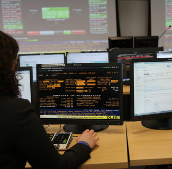 Students at computers in the Trading Lab