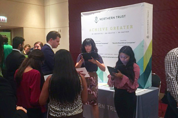 UIC Business students meeting the Northern Trust
