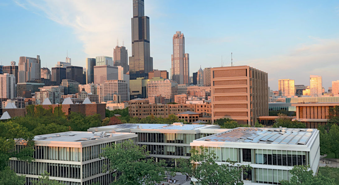 UIC Business' Douglas Hall with the Chicago skyline in the background