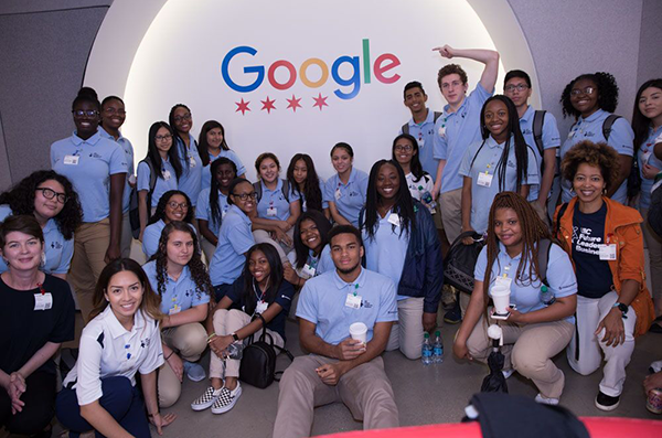 Students visiting the Google offices