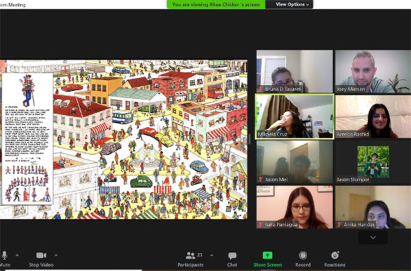 A screenshot of students on the right side of the screen virtually playing