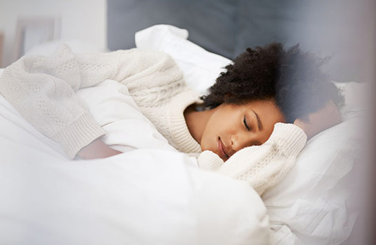 African American woman sleeping