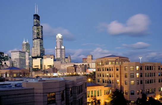 The east side of the UIC campus, looking toward the downtown Chicago skyline