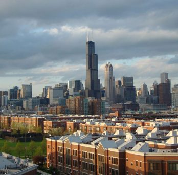 A view of downtown Chicago from the UIC campus