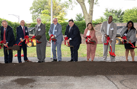 From left to right: UIC College of Engineering Dean Peter Nelson, UIC Vice Chancellor for Administrative Services John Coronado, University of Illinois System President Timothy Killeen, UIC Chancellor Michael Amiridis, Gov. JB Pritzker, State Sen. Celina Villanueva, University of Illinois Trustee Kareem Dale, State Rep. Lakesia Collins