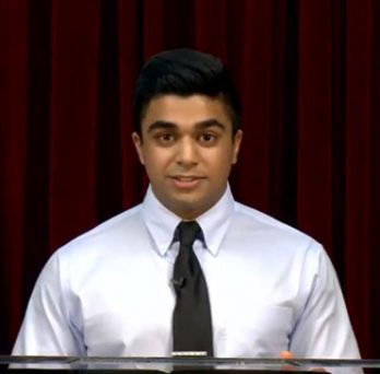 Screenshot of Saad Sahail '21 presenting during An Evening with Legacies & Leaders event