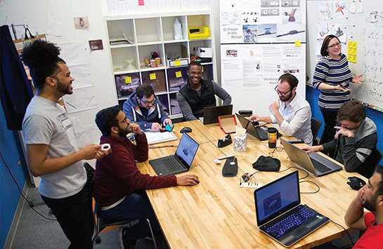 A group of students in the UIC Innovation Center