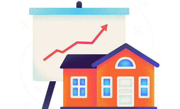 House with chart behind it with a graph and an arrow pointing in an upward trajectory
