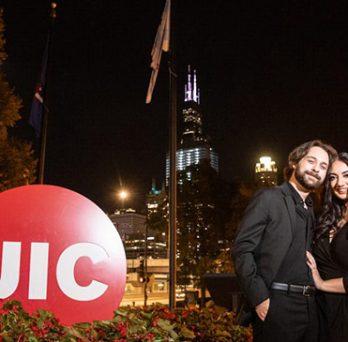 Newly engaged UIC graduates Marc DeMory and Amani Zara
