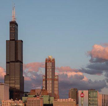 UIC evening skyline